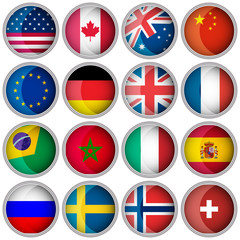 Set of glossy buttons or icons with flags popular countries