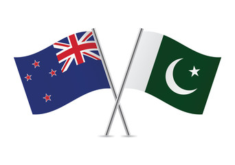New Zealand and Pakistan flags. Vector illustration.