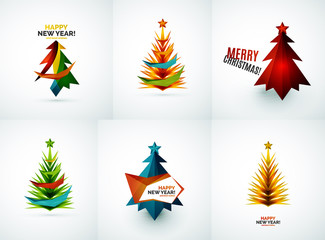 Set of Christmas tree geometric designs