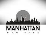 Manhattan New York USA Skyline Silhouette Black vector. - 74730548