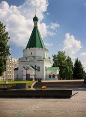 Memorial with an eternal flame and Archangel Michael Cathedral.