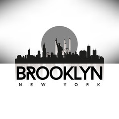 Brooklyn New York USA Skyline Silhouette Black vector