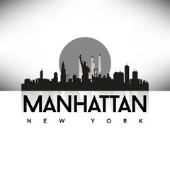 Manhattan New York USA Skyline Silhouette Black vector.