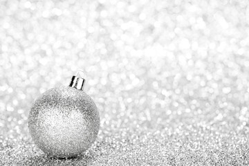 Glittering silver Christmas ball
