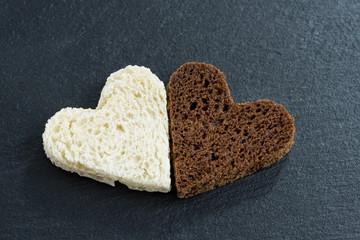 toasted rye and white bread in the form of heart