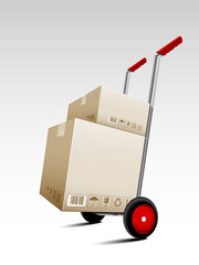 Parcel box delivery on hand truck
