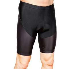 Men in black tight cycling shorts