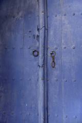 beautiful textured wooden old blue door, Bulgaria
