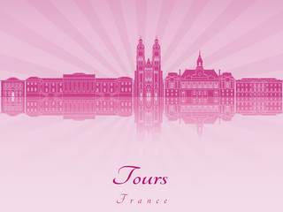 Tours skyline in purple radiant orchid