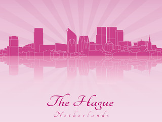 The Hague skyline in purple radiant orchid