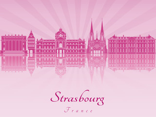 Strasbourg skyline in purple radiant orchid