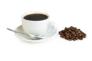 Hot coffee in cup and roasted grain