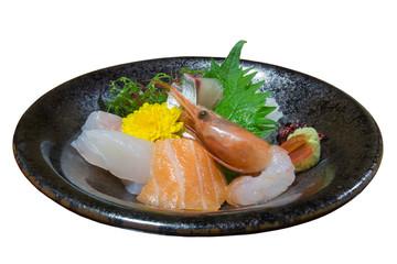 Sashimi on irregular shape plate isolated on white