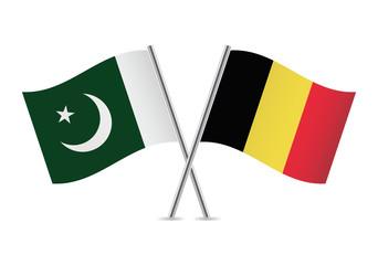 Belgian and Pakistan flags. Vector illustration.