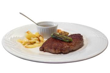 Tajima beef Japanese steak isolated on white