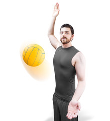 Volleyball player on gray uniform on white background