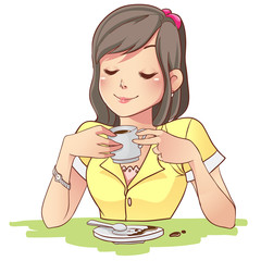 girl drinking a coffee