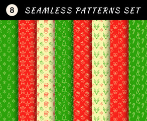 Christmas seamless patterns set. Abstract backgrounds.