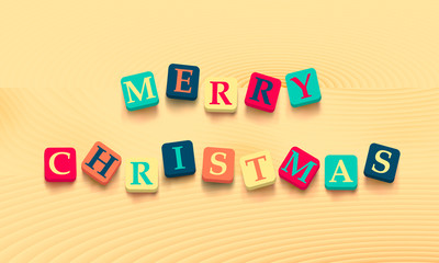 Words merry christmas with colorful blocks