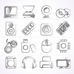 Computer Parts and Devices icons - vector icon set