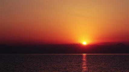 Sunrise over the Mediterranean Sea. Greece.