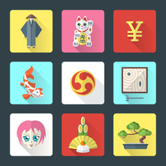vector national japanese theme flat design icons with shadow
