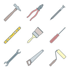 vector colored outline house repair instruments equipment icons