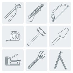 vector grey outline house repair instruments equipment icons