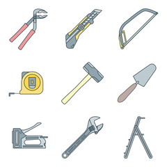 vector colored house repair instruments equipment icons