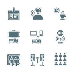 vector solid grey color conference theme icons
