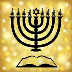 Hanukkah Symbols Over a Golden Light Background