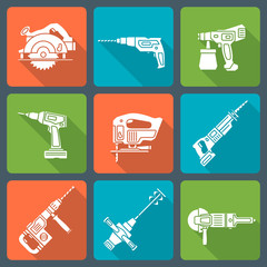 vector flat style white house repair electric devices icons