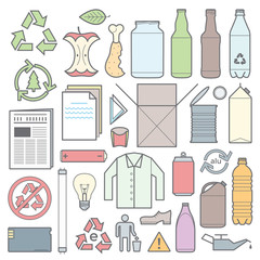 vector colored icons and signs separate collection of waste