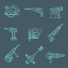 vector light outline house repair electric devices icons set