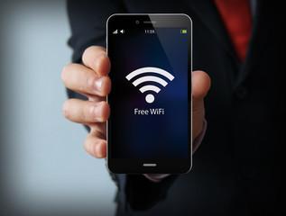 businessman free wifi zone