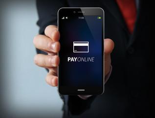 businessman pay online