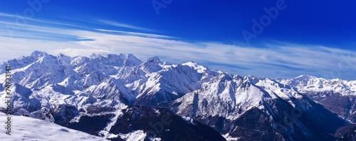 Leinwanddruck Bild View of Mont Blanc from Verbier