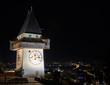 The clock tower (Uhrturm) in Grace (Graz), Styria, Austria, Euro