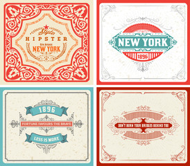 Retro labels set. vector - file