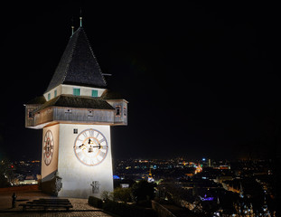 The clock tower (Uhrturm) in Grace (Graz), Styria, Austria, Euro