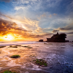 Pura Tanah Lot at sunset, Bali Island, indonesia