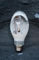 Broken street light bulb