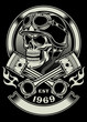 Vintage Biker Skull With Crossed Piston Emblem