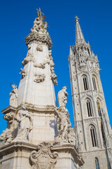 Holy Trinity column near Matthias Church in Budapest