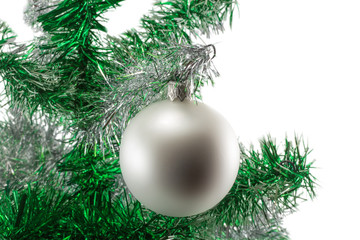 white ball on the Christmas tree isolated on white background