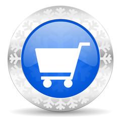 cart blue icon, christmas button, shop sign