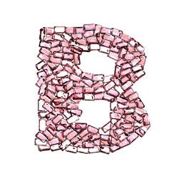 blettera rubino rosso rosa gemme 3d, sfondo bianco