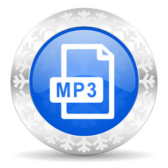 mp3 file blue icon, christmas button