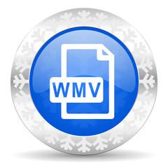 wmv file blue icon, christmas button