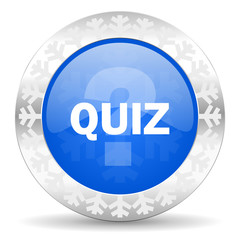 quiz blue icon, christmas button